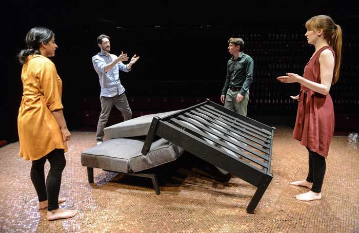 Natalie Dew, Ben Addis, Karl Davies and Nicola Kavanagh in Deposit at the Hampstead Theatre, London. Photo: Robert Day