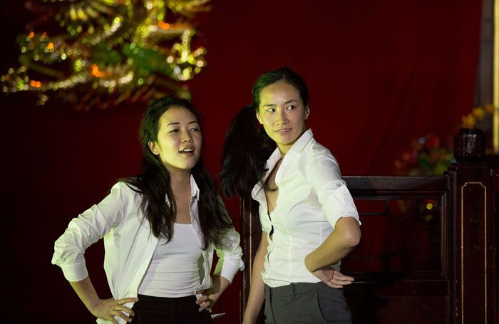 Jennifer Leong and Dandan Liu in From Shore to Shore at Oriental City Restaurant, Leeds. Photo: Tony Glossop