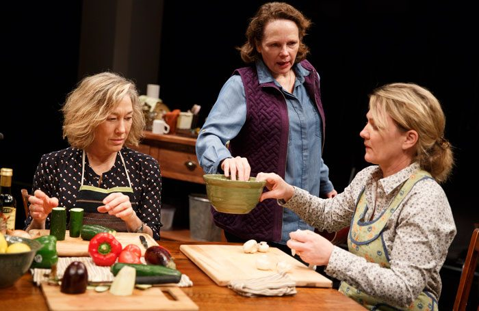 Meg Gibson, Maryann Plunket tand Lynn Hawley in Hungry, Play One of The Gabriels: Election Year in the Life of One Family. Photo: Joan Marcus.
