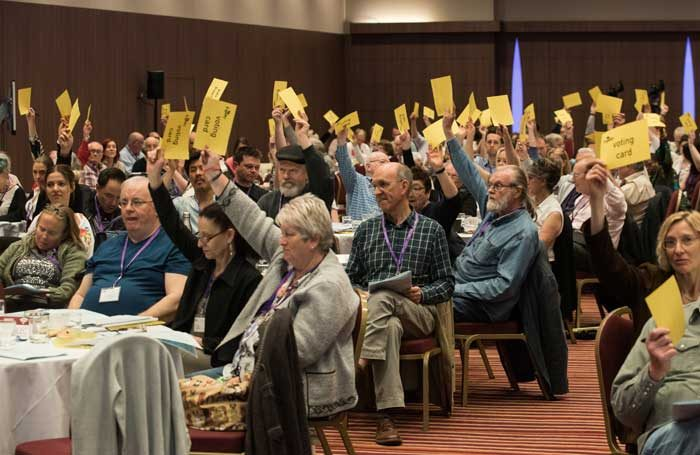 Equity members voting at the union's Annual Representative Conference 2017. Photo: Philip Hartley