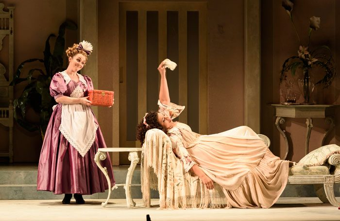 Rhian Lois and Mary Elizabeth Williams in Die Fledermaus at Wales Millennium Centre. Photo: Bill Cooper