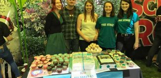 Catherine Gerbrands, Alistair Smith, Rachel Scott, Giverny Masso and Sarah Rowlands with The Stage's stall at West End Bake Off 2017