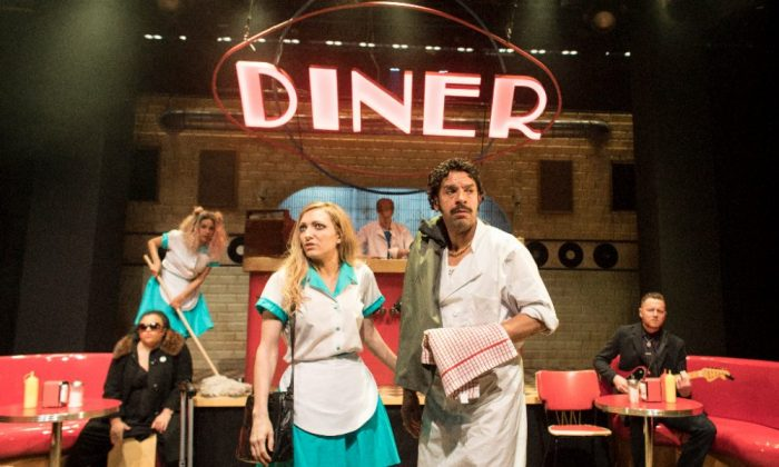 The cast of Roller Diner at Soho Theatre, London. Photo: Helen Maybanks