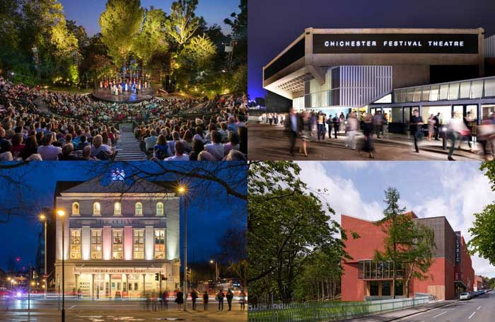 Clockwise from top left: Regent's Park Open Air Theatre, Chichester Festival Theatre, Belfast Lyric Theatre and London's Old Vic. Photos: David Jensen, Philip Vile, Dennis Gilbert, Manuel Harlan