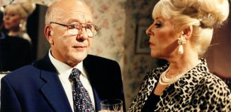 Roy Barraclough and Julie Goodyear in Coronation Street, 1995. Photo: Granada Television
