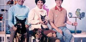 Peter Purves, Valerie Singleton and John Noakes, with Jason the cat, Petra and Patch, the dogs, and Barney the parrot - Blue Peter, 1969. Photo: BBC