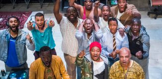 The cast of Barber Shop Chronicles at the National Theatre, London