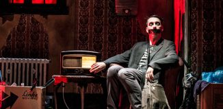 Sam Wills in Tape Face at the Garrick Theatre, London. Photo: Matt Crockett