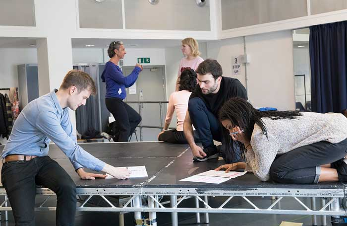 Jeff James (left) in rehearsals with the company of Persuasion for the Royal Exchange Theatre, Manchester. Photo: Johan Persson