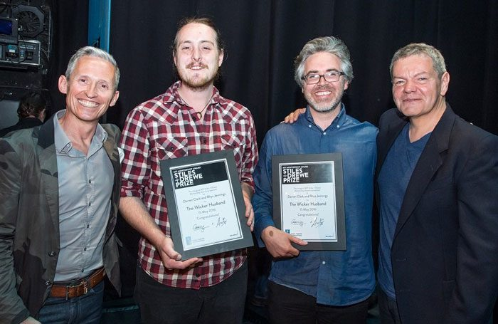 The Wicker Husband writers Rhys Jennings and Darren Clark with Stiles and Drewe. Photo: MMD