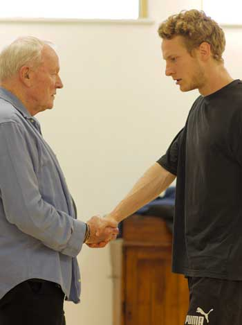 Julian Glover and Freddie Bowerman in rehearsals for Julius Caesar. Photo: Simon Purse