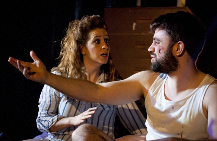 Megan Lloyd-Jones and Gareth O'Connor in Danny and the Deep Blue Sea at Old Red Lion Theatre, London. Photo Ben Bardsley-Ball