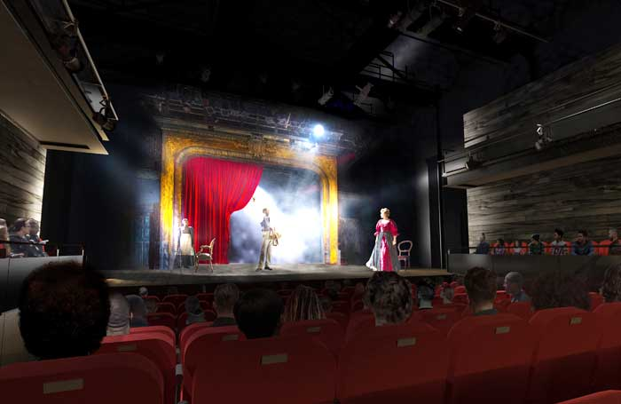 An artist's impression of the view from the auditorium in the redesigned Tricycle Theatre. Photo: ChampanWaterworth