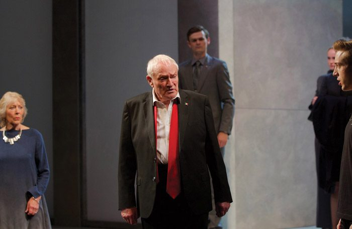 Julian Glover and company in Julius Caesar at Bristol Old Vic. Photo: Simon Purse