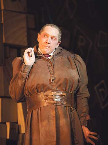 Bertie Carvel in the Royal Shakespeare Company's production of Matilda the Musical, at the Cambridge Theatre, London, in 2012. Photo: Manuel Harlan