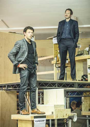 Richard Coyle and Bertie Carvel in rehearsals for Ink at the Almeida Theatre, London. Photo: Marc Brenner