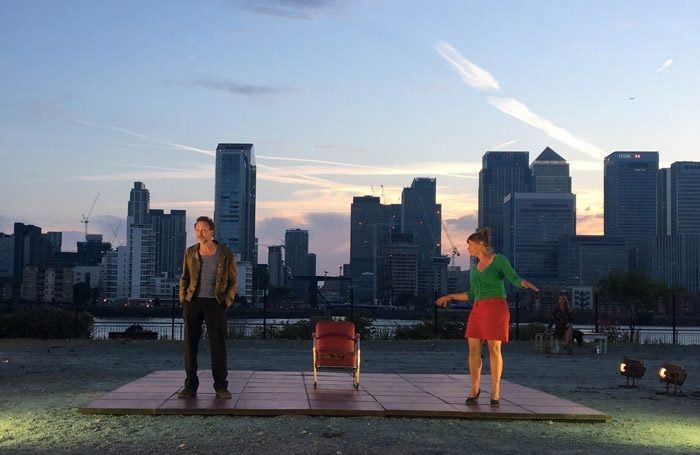 Robby Cleiren, Sara De Bosschere, and Sofie Sente in A View from the Bridge at Greenwich and Docklands International Festival. Photo: Michelle Walker
