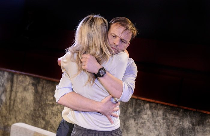 Alec Newman and Susan Stanley in Alligators at Hampstead Theatre, London. Photo: Robert Day