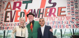 Justine Simons, deputy mayor for culture, artist Bob and Roberta Smith and London mayor Sadiq Khan