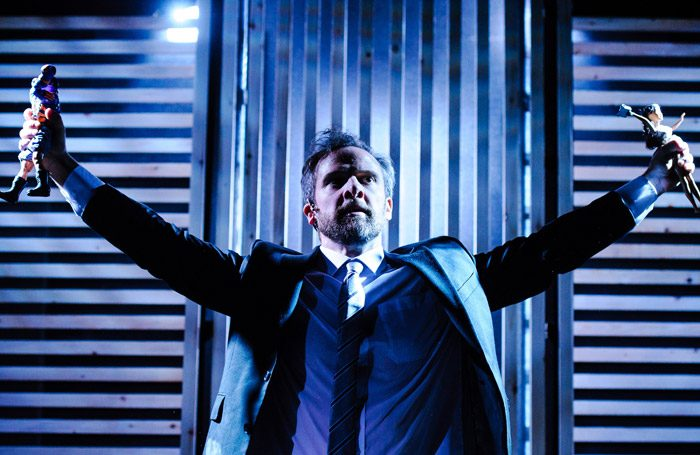 Michael Rouse in Superhero at Southwark Playhouse, London. Photo: Alex Brenner