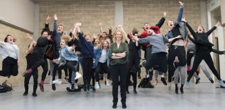 Principal Joanna Read and her pupils test one of the studio's semi-sprung floors. Photo: Richard Hubert Smith