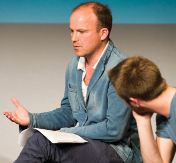 Ex-pupil Rory Kinnear working with a LAMDA student. Photo: Richard Hubert Smith