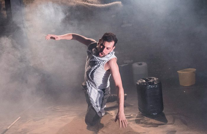 Ahmed Tobasi in And Here I Am at the Arcola Theatre, London. Photo: Tristram Kenton
