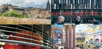 Clockwise from top left: Edinburgh Fringe, Liverpool's Everyman, Manchester's Royal Exchange and the Leicester Curve, which are all planned to feature in Opening Night. Photos: Shutterstock/Philip Vile/Leicestershire Promotions