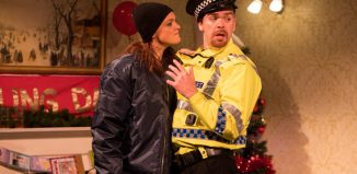 Gayle Telfer Stevens and Martin McCormick in The Lying Kind at Tron Theatre, Glasgow. Photo: John Johnstone
