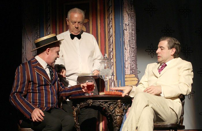 Ian Kelly, Dermot Agnew and Mark Farrelly in Chinese Whispers at Greenwich Theatre