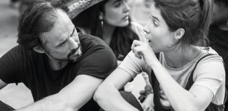 Steve John Shepherd and Beatriz Romilly in rehearsal for Much Ado About Nothing at Shakespeare's Globe. Photo: Tristram Kenton