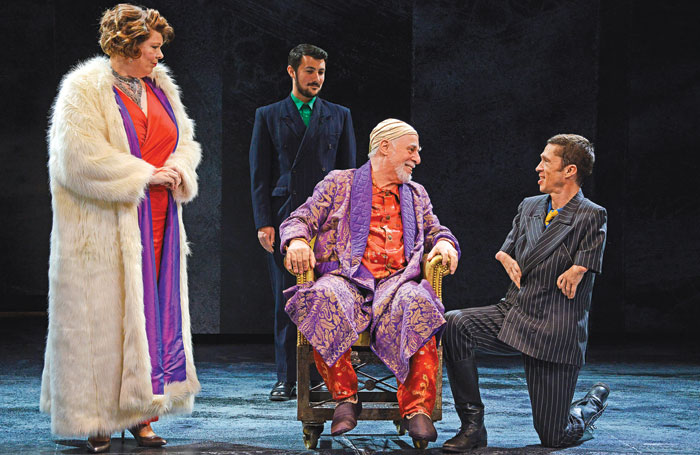 Ruth Alexander-Rubin, Luke Adamson, Barrie Rutter (seated) and Mat Fraser in Northern Broadsides' Richard III at Hull Truck Theatre. Photo: Nobby Clark