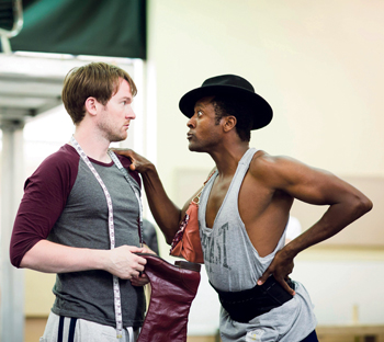 Killian Donnelly and Matt Henry in rehearsals for Kinky Boots. Photo: Helen Maybanks