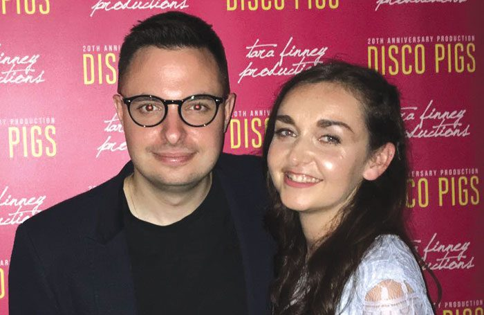 John Haidar (director) and Tara Finney (producer) at the press night of Disco Pigs. Photo: Chloe Nelkin Consulting