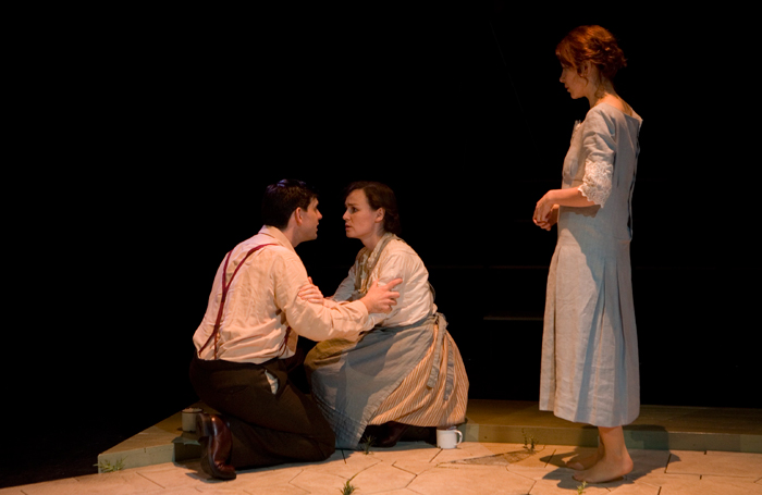 Andy Clark, Georgina Sowerby and Samantha Young in Julie, written by Zinnie Harris. Photo: Peter Dibdin