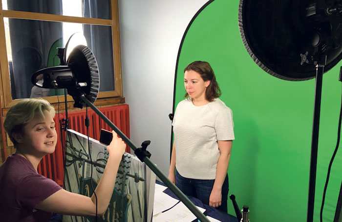 Kate Ladenheim and Leila Ghazanavi working with a green screen for Transmission. Photo: Montgomery Martin