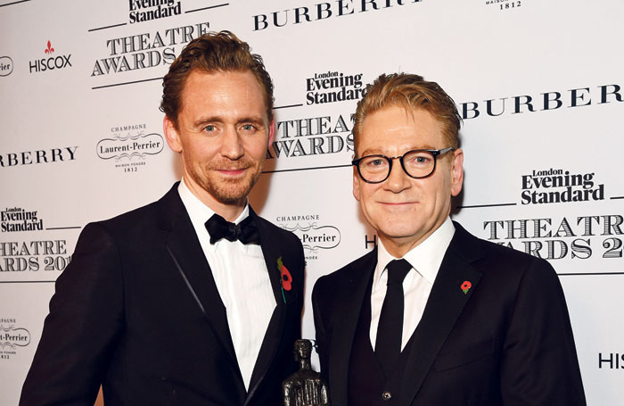 Tom HIddleston and Kenneth Branagh at the London Evening Standard Theatre Awards. Photo: Dave Benett