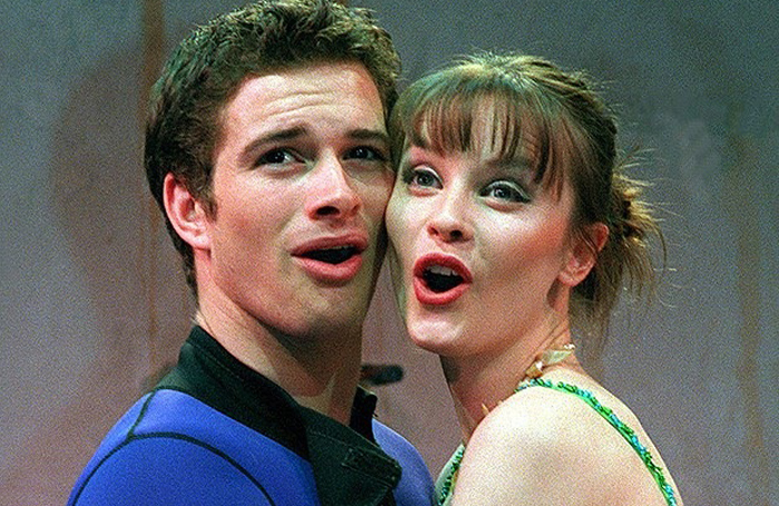 Andrew Langtree with Lisa Stokke, making her professional debut, in Mamma Mia! in 1999