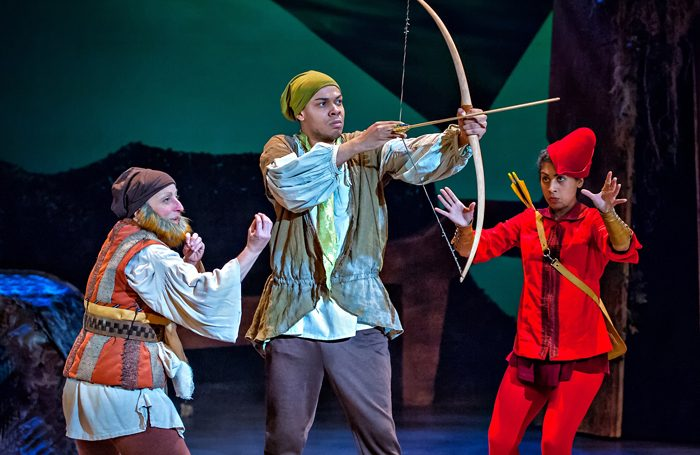 Joanna Holden, Neil Reynolds and Siobhan Athwal in Robin Hood: The Arrow of Destiny at York Theatre Royal. Photo: Anthony Robling