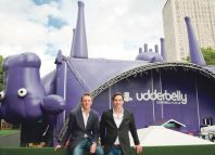 Charlie Wood and Ed Bartlam outside the Udderbelly venue. Photo: David Jensen