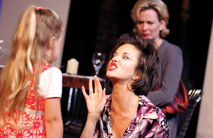 Shannon Kelly, Andrea Riseborough and Sara Stewart in The Pain and the Itch, directed by Dominic Cooke, at London's Royal Court in 2007. Photo: Tristram Kenton