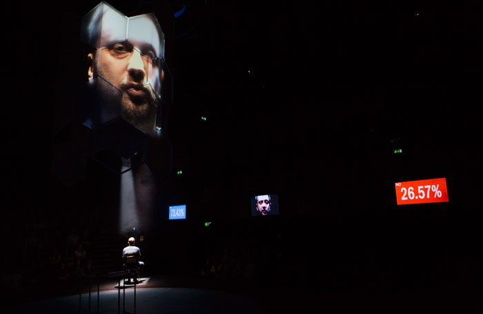 Rob Drummond in The Majority at the National Theatre. Photo: Ellie Kurttz