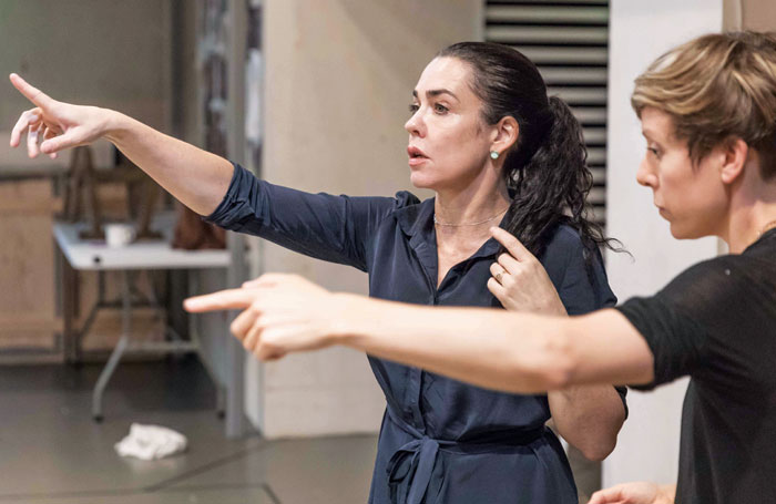 Farber with choreographer Imogen Knight in rehearsals for Knives in Hens. Photo: Marc Brenner