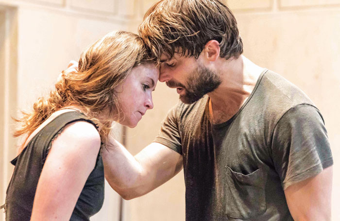 Judith Roddy and Christian Cooke in rehearsals for Knives in Hens. Photo: Marc Brenner