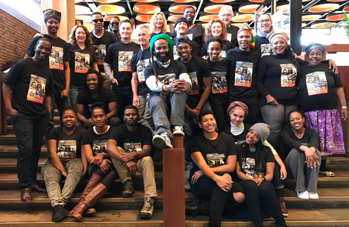 The Baxter Assembly company in the foyer of the Baxter Theatre Centre before departing for Edinburgh. Photo: Andrew Brown