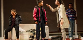 Isabella Verrico, Rebekah Murrell, Jesse Bateson and Zakaria Douglas-Zerouali in the National Youth Theatre's The Host at the Yard Theatre, London. Photo: Helen Maybanks