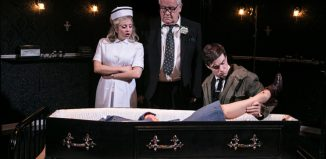 Sinead Matthews, Ian Redford and Sam Frenchum in Loot at the Park Theatre, London. Photo: Darren Bell