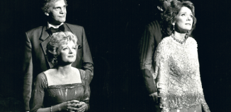 Above left: Daniel Massey, Julia McKenzie, David Healy and Diana Rigg in the original London production of Follies at the Shaftesbury Theatre in 1987. Photo: Michael Le Poer Trench