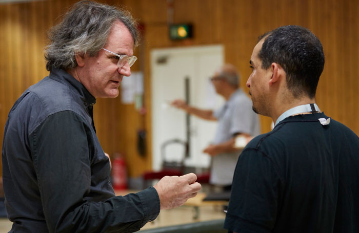 Bartlett Sher and Nabil Elouahabi in rehearsal for Oslo. Photo: Brinkhoff-Mogenberg