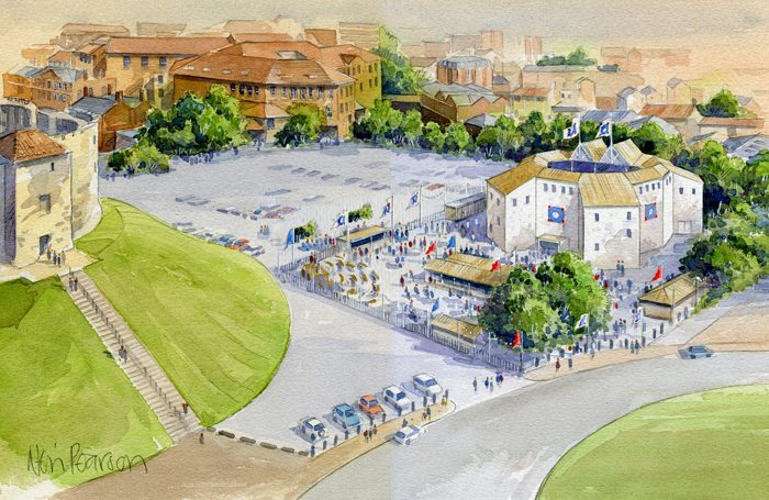 An artist's impression of the pop-up theatre in York